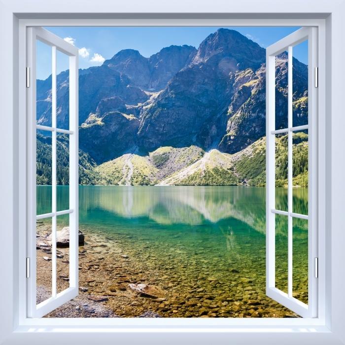Fototapeta winylowa Okno białe otwarte - Panorama Morskiego Oka - Widok przez okno
