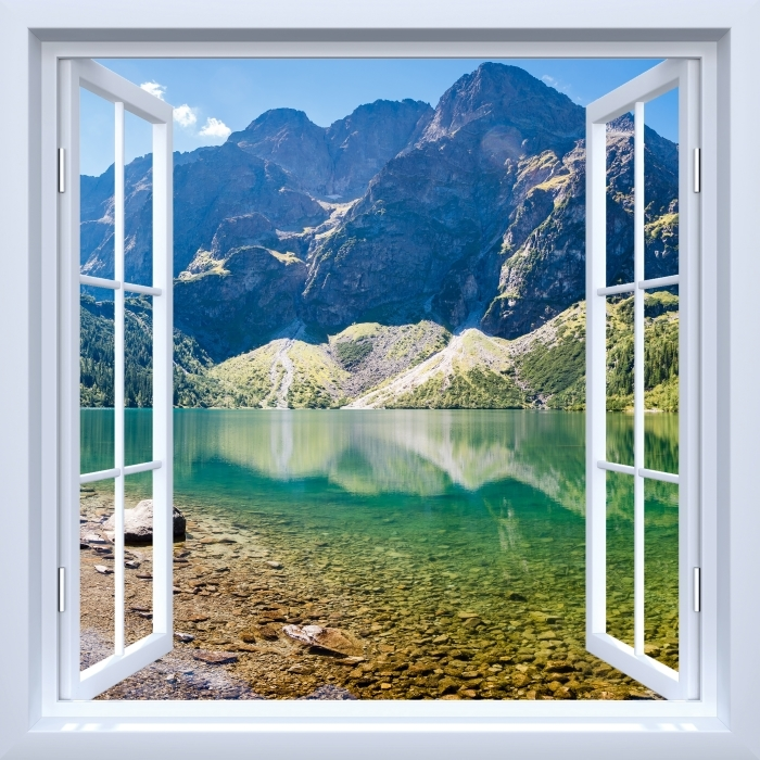 Naklejka Pixerstick Okno białe otwarte - Panorama Morskiego Oka - Widok przez okno