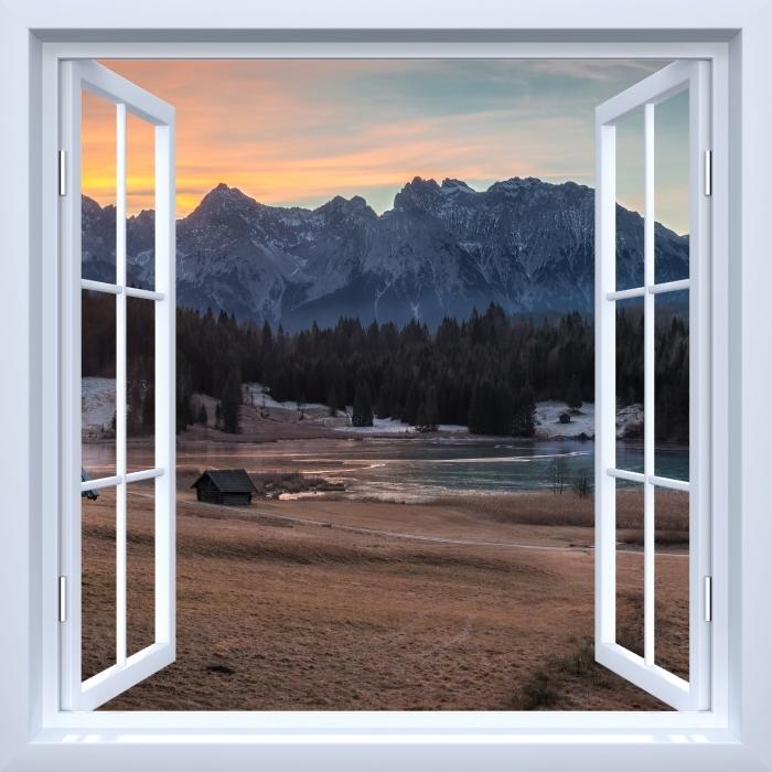 Papier peint vinyle Fenêtre ouverte blanche - Bavière - La vue à travers la fenêtre