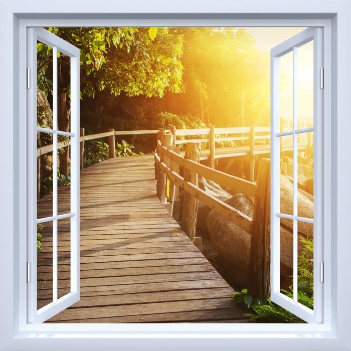 Papier peint vinyle Fenêtre ouverte blanche - Thaïlande - La vue à travers la fenêtre
