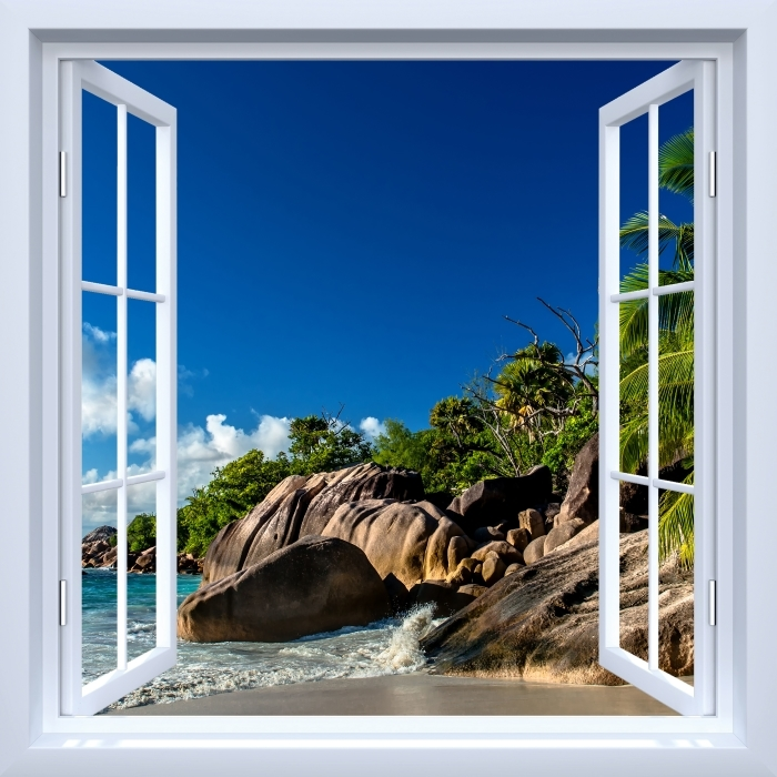 White open window - Tropical Vinyl Wall Mural - View through the window