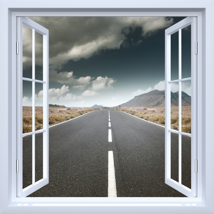 Vinyl-Fototapete Weiß offenes Fenster - Straße durch die Wüste. - Blick durch das Fenster