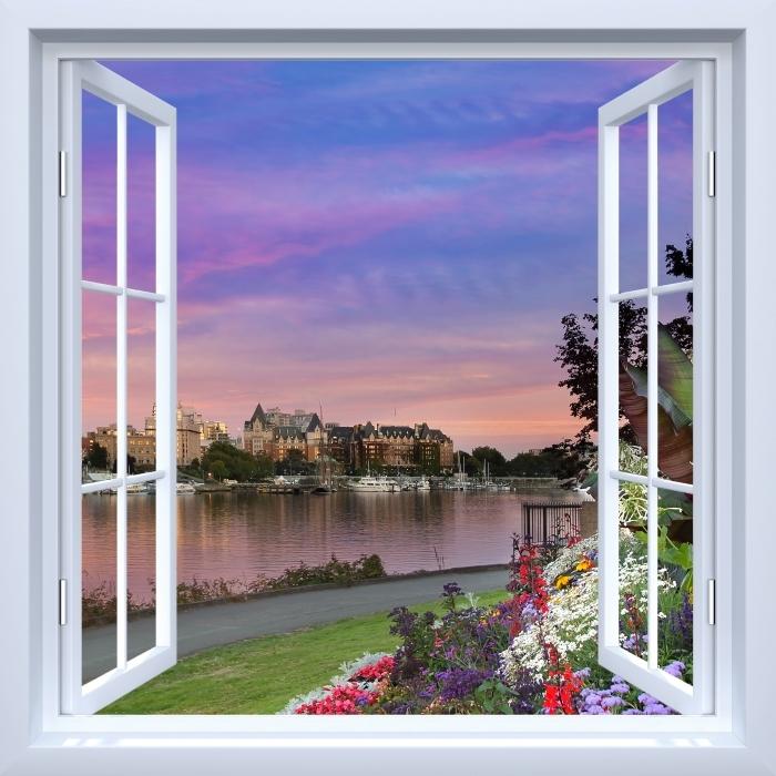 Fototapeta winylowa Okno białe otwarte - Widok na rzekę. - Widok przez okno