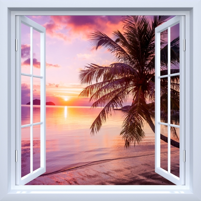 Vinyl-Fototapete Weiß offenes Fenster - Tropischer Strand - Blick durch das Fenster