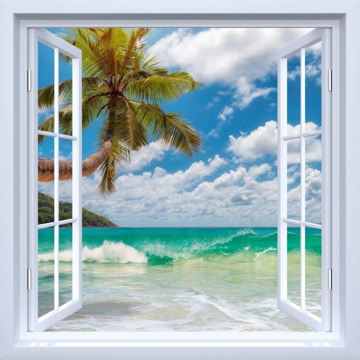 Fototapeta winylowa Okno białe otwarte - Raj na plaży - Widok przez okno