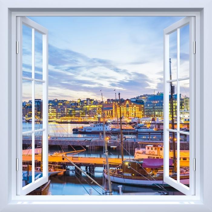 Vinyl Fotobehang White open raam - Oslo - Uitzicht door het raam