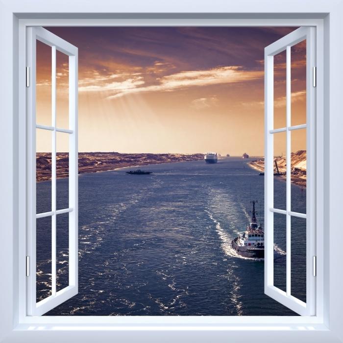 Papier peint vinyle Fenêtre ouverte blanche - Le long de la rivière - La vue à travers la fenêtre