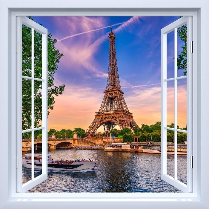 Fototapeta zmywalna Okno białe otwarte - Paryż i Wieża Eiffla - Widok przez okno