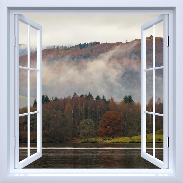 Papier peint vinyle Fenêtre ouverte blanche - Lake District - La vue à travers la fenêtre