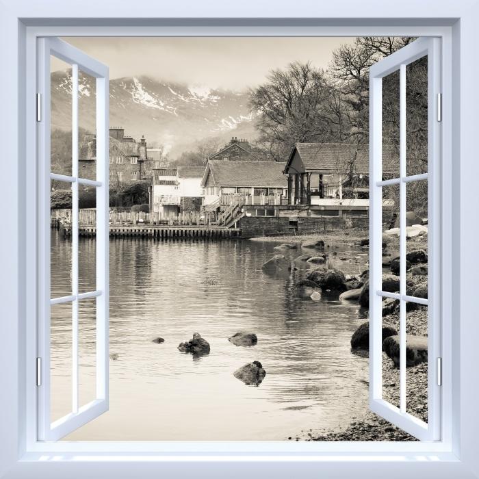 Papier peint vinyle Fenêtre ouverte blanche - Lake District -