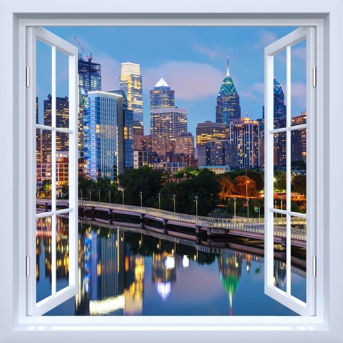 Fototapeta winylowa Okno białe otwarte - Filadelfia w nocy - Widok przez okno