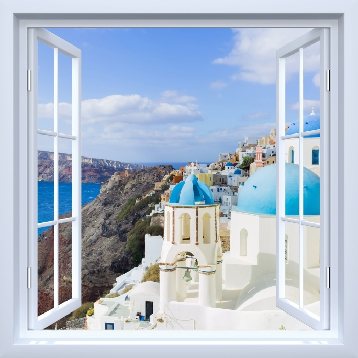 Fotomural Estándar Blanco ventana abierta - Paisaje de Santorini - Vistas a través de la ventana