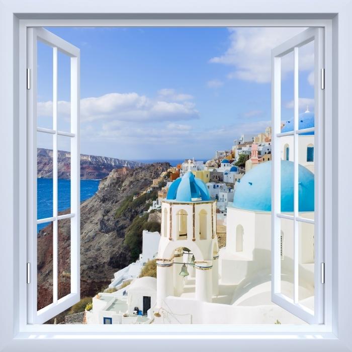 Fototapeta winylowa Okno białe otwarte - Krajobraz Santorini - Widok przez okno