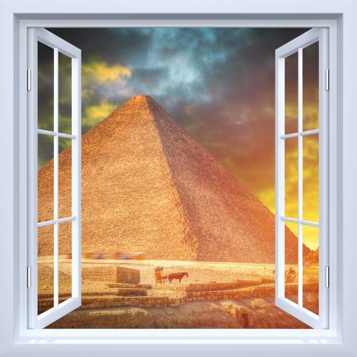 Papier peint vinyle Fenêtre ouverte blanche - pyramides de Gizeh - La vue à travers la fenêtre