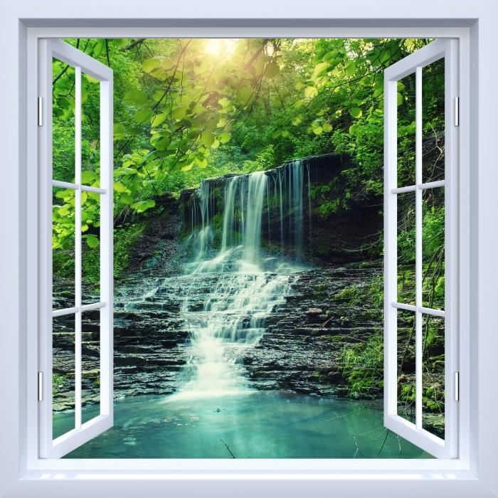Vinyl Fotobehang White open raam - Waterval - Uitzicht door het raam