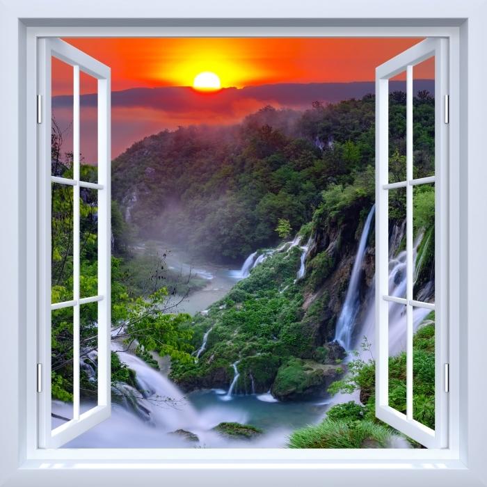 Papier peint vinyle Fenêtre ouverte blanche - Lever du soleil. Croatie. - La vue à travers la fenêtre