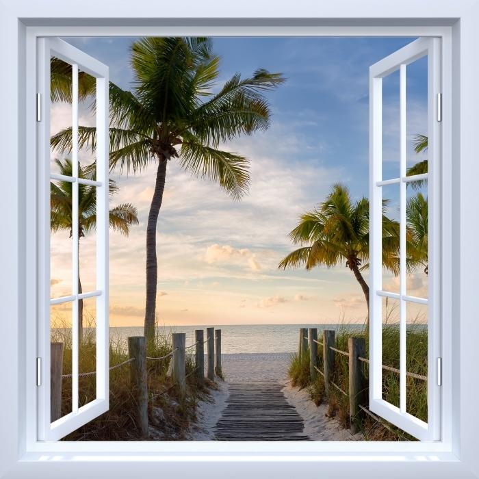 Papier peint vinyle Fenêtre ouverte blanche - Panorama - La vue à travers la fenêtre