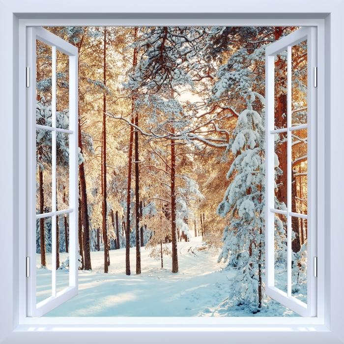 Papier peint vinyle Fenêtre ouverte blanche - arbres de pin couvert de neige - La vue à travers la fenêtre