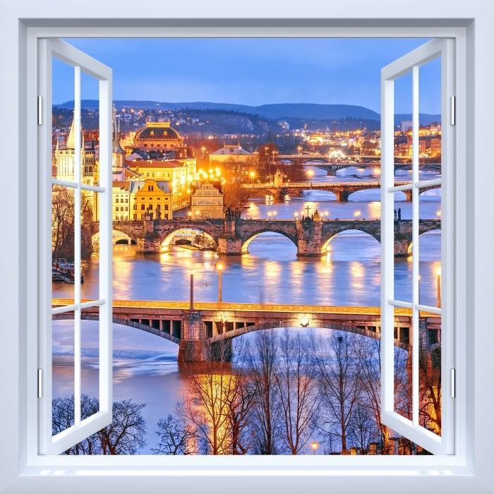 Fototapeta winylowa Okno białe otwarte - Praga - Widok przez okno