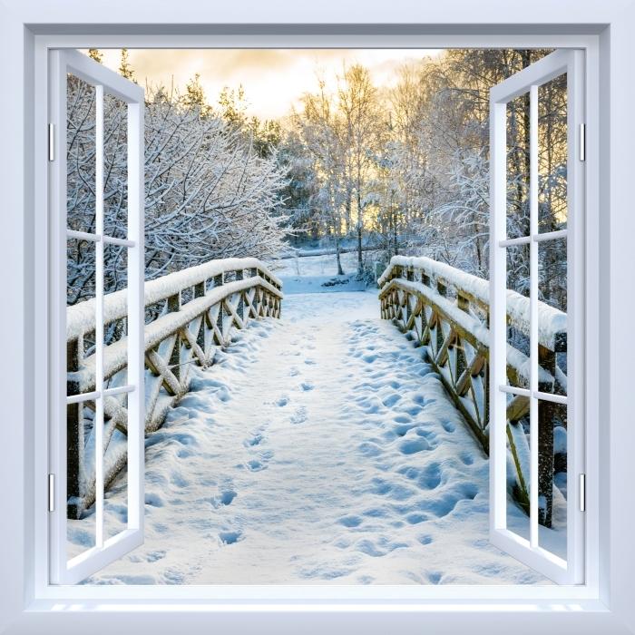 Vinyl-Fototapete Weiß offenes Fenster - Winterbrücke - Blick durch das Fenster