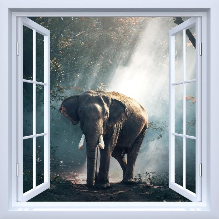 Papier peint vinyle Fenêtre ouverte blanche - éléphant dans la forêt - La vue à travers la fenêtre