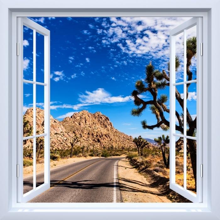 Fototapeta winylowa Okno białe otwarte - Park Narodowy w Kalifornii - Widok przez okno