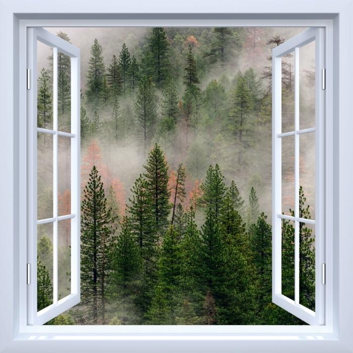 Fototapeta samoprzylepna Okno białe otwarte - Las we mgle - Imitacje