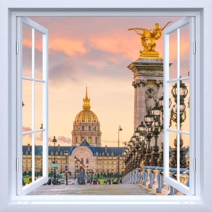 White open window - Pont Alexandre III. Paris Vinyl Wall Mural - View through the window