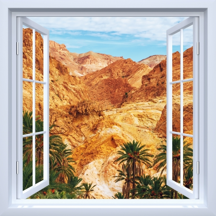 Fotomural Estándar Blanco ventana abierta - oasis de montaña - Vistas a través de la ventana