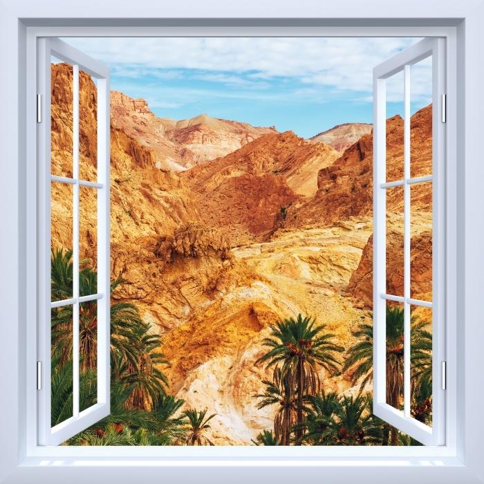 White window open - Mountain oasis Vinyl Wall Mural - View through the window