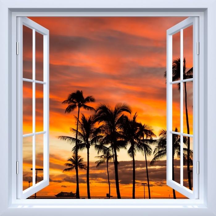 Papier peint vinyle Fenêtre ouverte blanche - Hawaii - La vue à travers la fenêtre