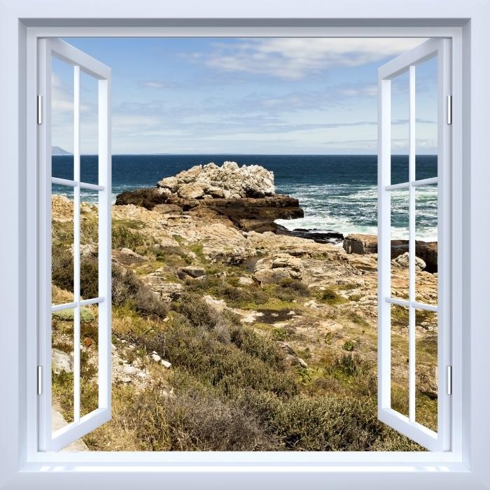 White open window - the sea. Vinyl Wall Mural - View through the window
