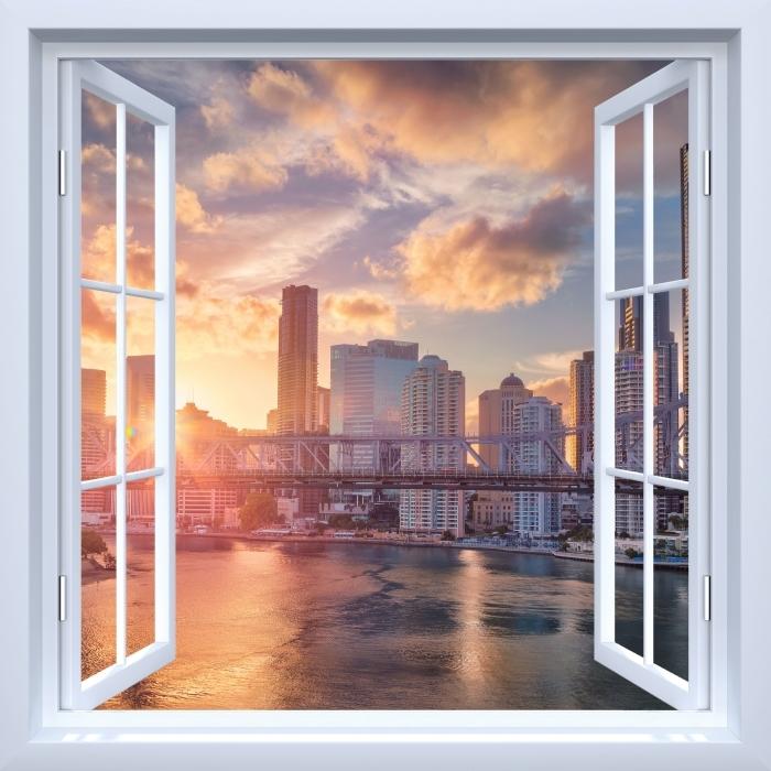 Fototapeta winylowa Okno białe otwarte - Brisbane. - Widok przez okno