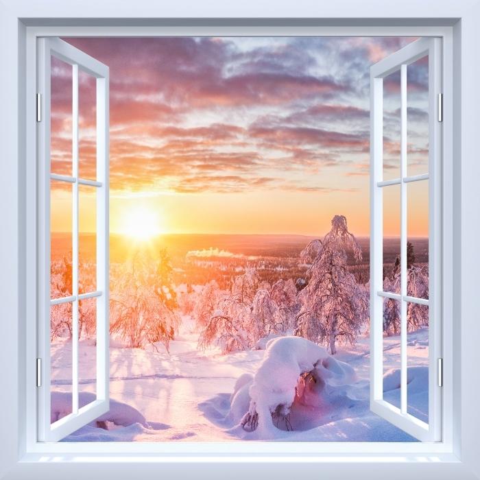 Papier peint vinyle Fenêtre ouverte blanche - le coucher du soleil Scandinavie -