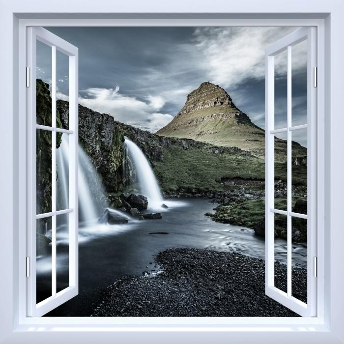 Papier peint vinyle Fenêtre ouverte blanche - Cascade. Islande. - La vue à travers la fenêtre