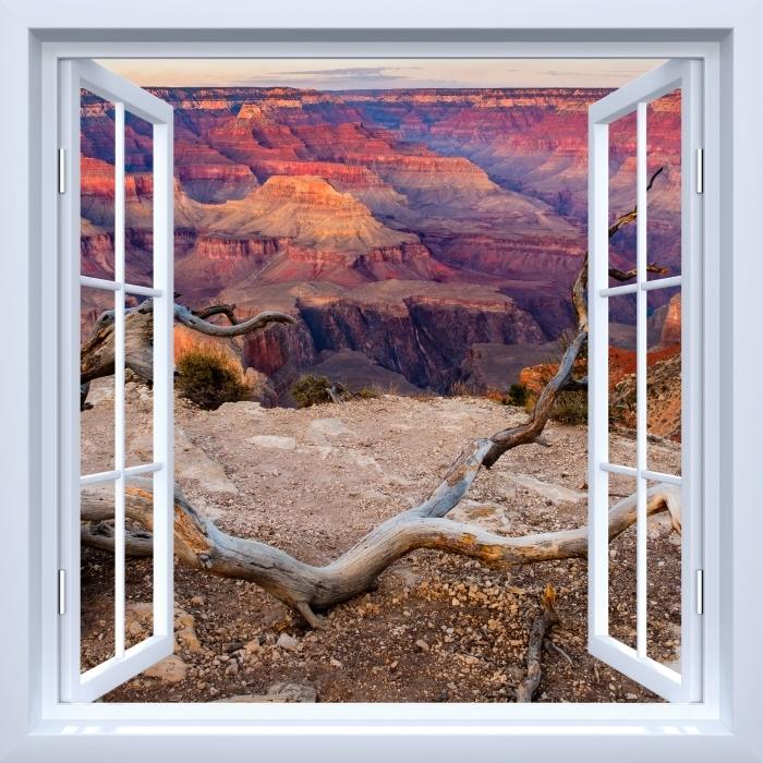 Papier peint vinyle Fenêtre ouverte blanche - Grand Canyon - La vue à travers la fenêtre