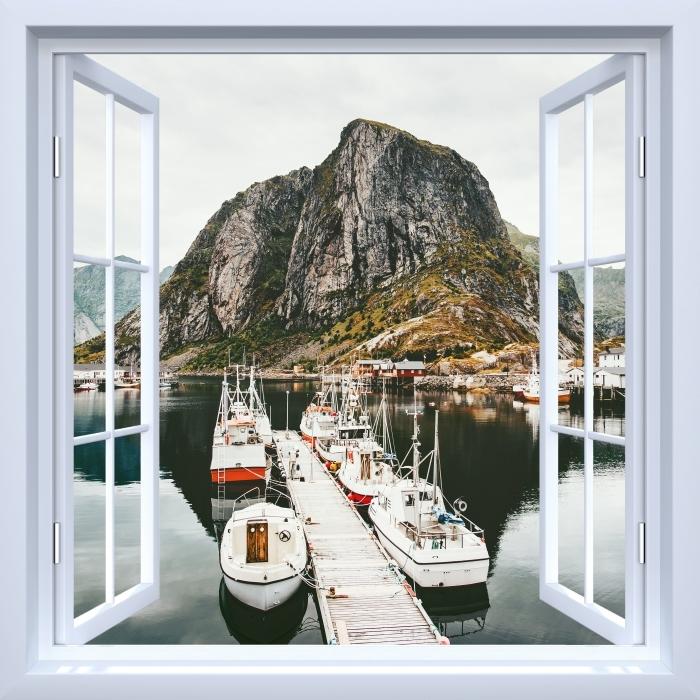 Vinyl Fotobehang White open raam - Landschap. Noorwegen - Uitzicht door het raam