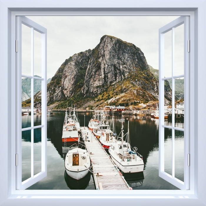 White open window - Landscape. Norway Vinyl Wall Mural - View through the window