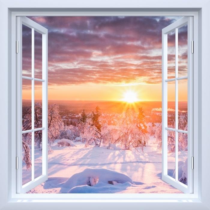 Fototapeta winylowa Okno białe otwarte - Skandynawia. Krajobraz o zachodzie słońca - Widok przez okno