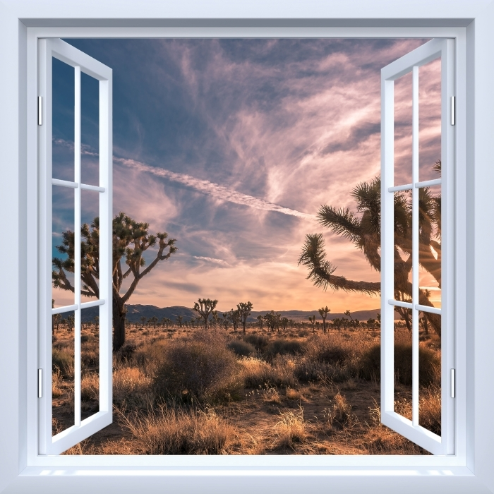 Fototapeta winylowa Okno białe otwarte - Zachód słońca. Pustynia. Kalifornia. - Widok przez okno