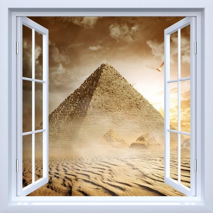 Fototapeta winylowa Okno białe otwarte - Pustynia - Widok przez okno