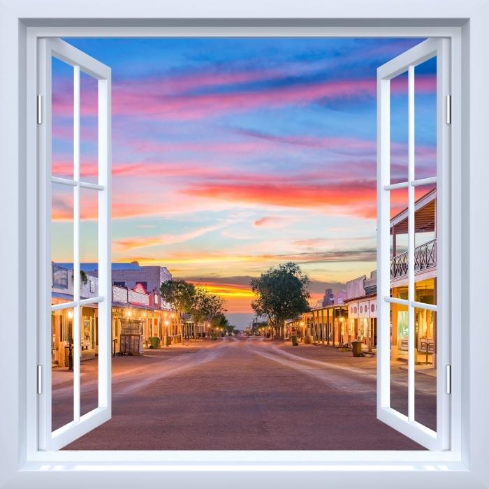 Papier peint vinyle Fenêtre ouverte blanche - Arizona - La vue à travers la fenêtre