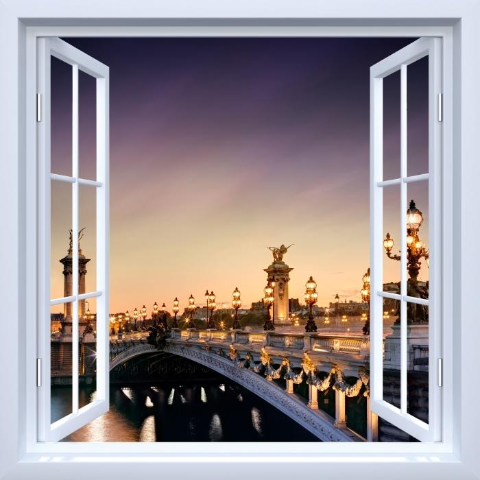 Vinyl Fotobehang White raam open - brug in Parijs - Uitzicht door het raam