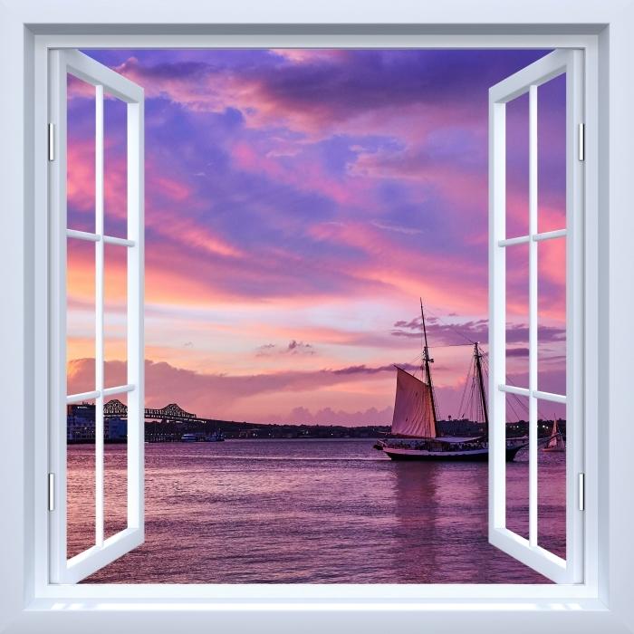 Papier peint vinyle Fenêtre ouverte blanche - le coucher du soleil incroyable au port de Boston - La vue à travers la fenêtre