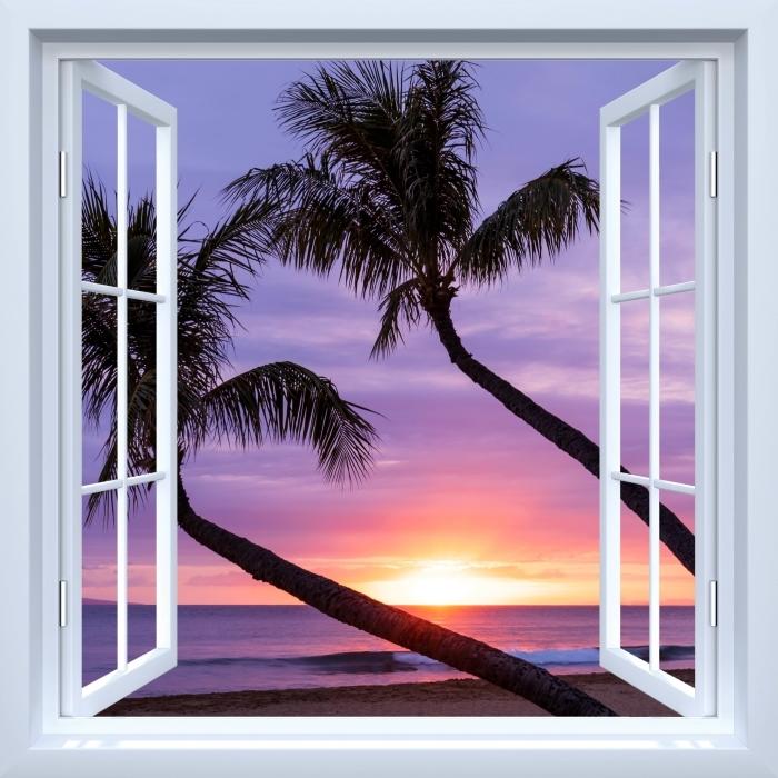 Papier peint vinyle Fenêtre ouverte blanche - palmiers - La vue à travers la fenêtre