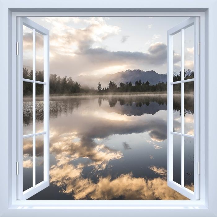 Fototapeta winylowa Okno białe otwarte - Jezioro. Nowa Zelandia. - Widok przez okno