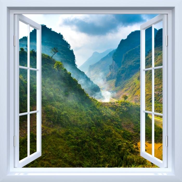 Vinyl-Fototapete Weiß offenes Fenster - Ha Giang. Vietnam. - Blick durch das Fenster