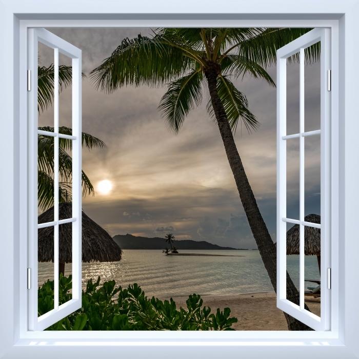Fototapeta winylowa Okno białe otwarte - Palmy - Widok przez okno