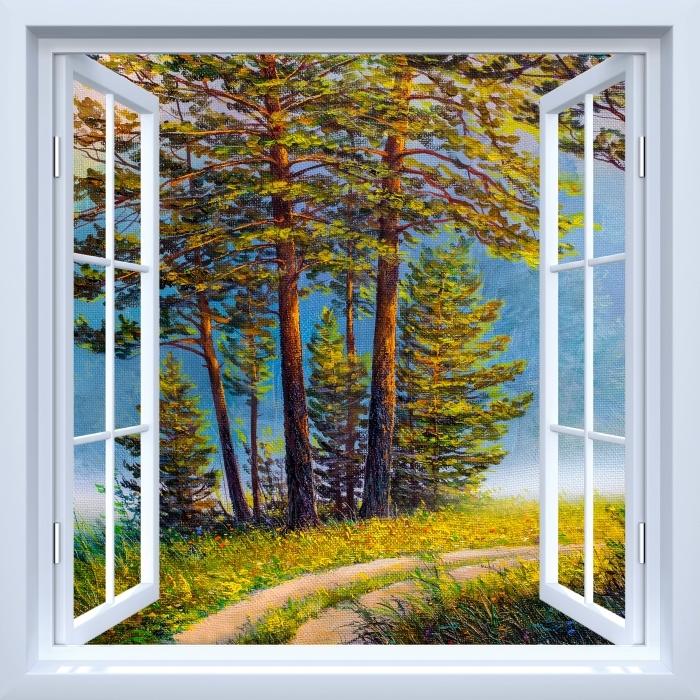 Papier peint vinyle Fenêtre ouverte blanche - forêt d'été - La vue à travers la fenêtre