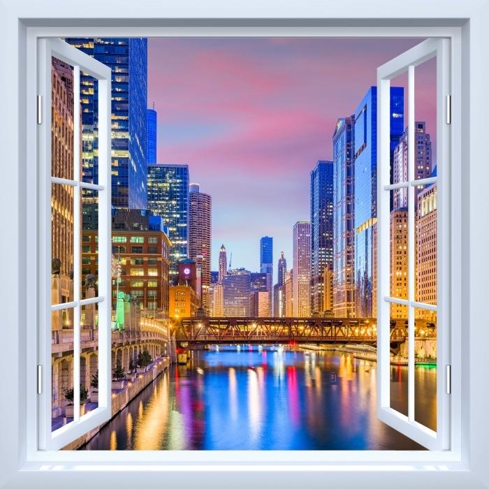 Papier peint vinyle Fenêtre ouverte blanche - Chicago, Illinois, États-Unis. - La vue à travers la fenêtre